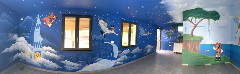 peinture murale intrieure monde de peter pan camping le bel air au chteau dolonne